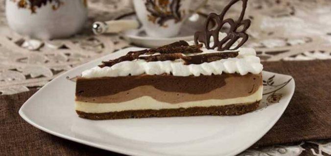 Тришаровий шоколадний чізкейк без випічки