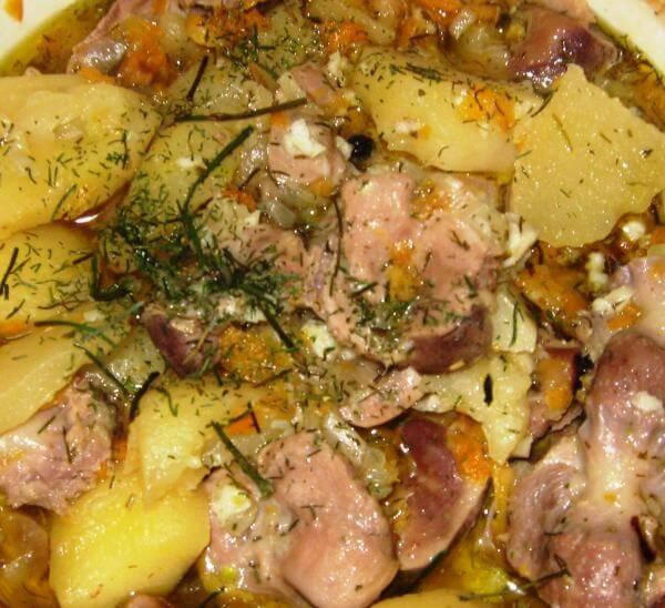 Куриные потрошки с картошкой рецепт с фото