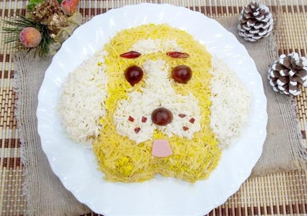 Салат на Новий 2018 рік у вигляді Собаки: покроковий рецепт з фото
